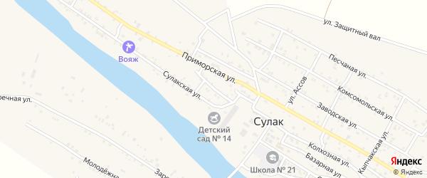 Пионерская улица на карте поселка Сулака с номерами домов