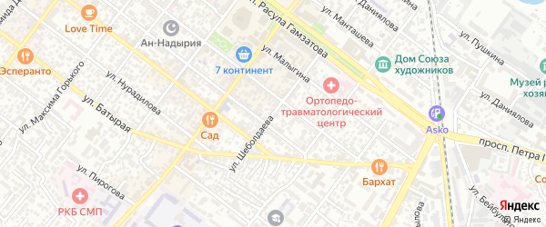 Улица Шеболдаева на карте Махачкалы с номерами домов