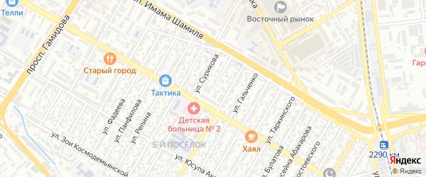 Кизлярская улица на карте Махачкалы с номерами домов
