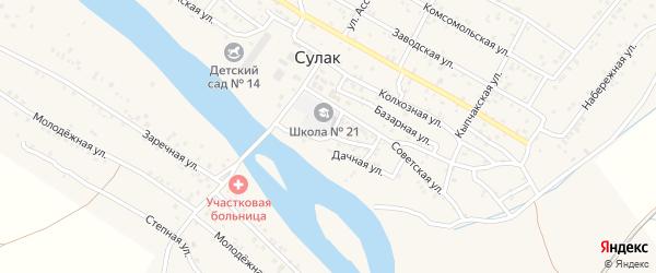 Зеленая улица на карте поселка Сулака с номерами домов
