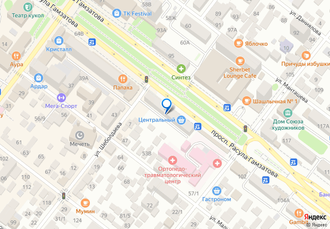 db4649f1b улица Расула Гамзатова, 66 на карте-панораме Махачкалы, организации ...