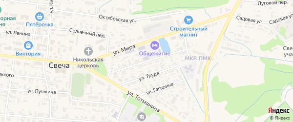 Кооперативная улица на карте поселка Свечи Кировской области с номерами домов