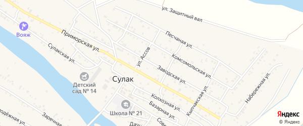 Заводская улица на карте поселка Сулака с номерами домов