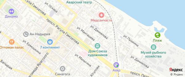 Улица Манташева на карте Махачкалы с номерами домов