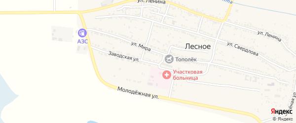 Заводская улица на карте Лесного села Астраханской области с номерами домов