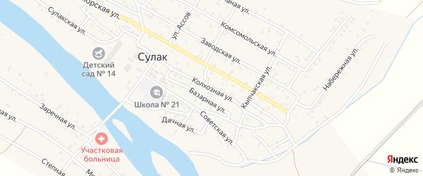 Колхозная улица на карте поселка Сулака с номерами домов