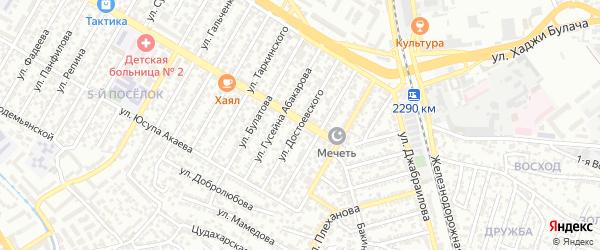 Улица Достоевского на карте Махачкалы с номерами домов
