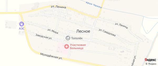 Колхозный переулок на карте Лесного села Астраханской области с номерами домов
