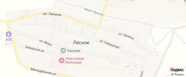 Проездной переулок на карте Лесного села Астраханской области с номерами домов