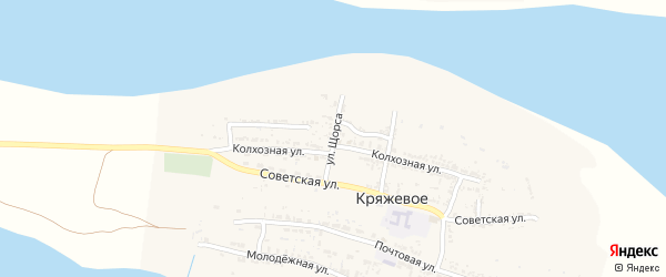 Улица Щорса на карте Кряжевого села Астраханской области с номерами домов