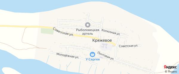 Советская улица на карте Кряжевого села Астраханской области с номерами домов