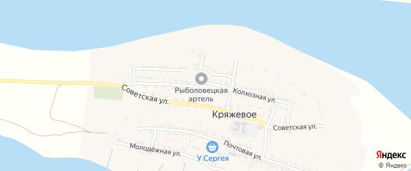 Колхозная улица на карте Кряжевого села Астраханской области с номерами домов