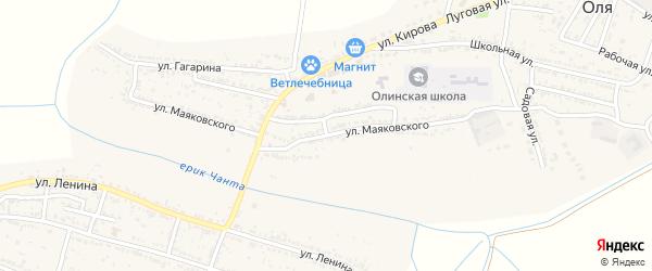 Улица Маяковского на карте Лесного села Астраханской области с номерами домов