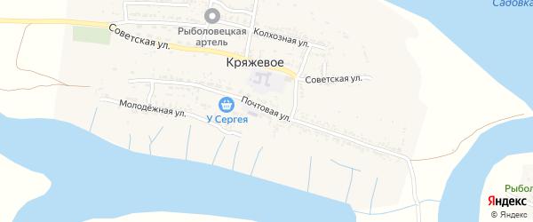 Почтовая улица на карте Кряжевого села Астраханской области с номерами домов