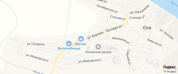 Улица Кирова на карте села Оли Астраханской области с номерами домов