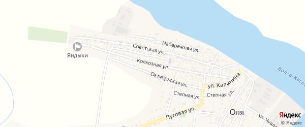 Колхозная улица на карте села Оли Астраханской области с номерами домов