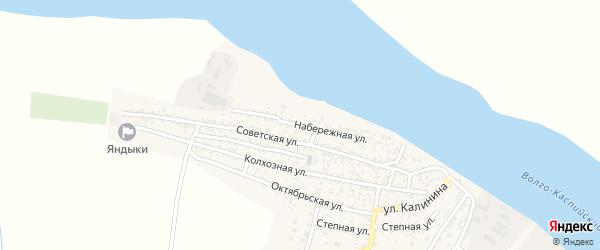 Набережная улица на карте села Оли Астраханской области с номерами домов