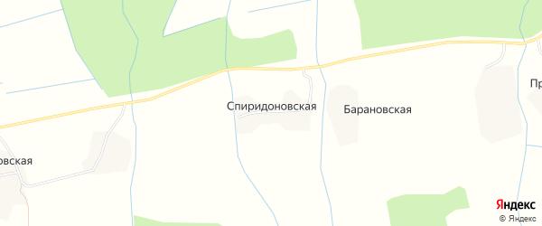 Карта Спиридоновской деревни в Архангельской области с улицами и номерами домов