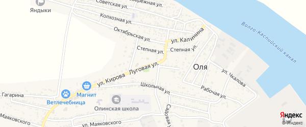 Луговая улица на карте села Оли Астраханской области с номерами домов