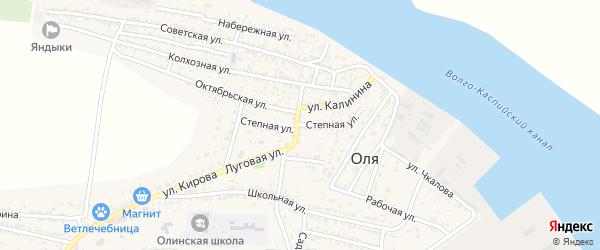 Степная улица на карте села Оли Астраханской области с номерами домов
