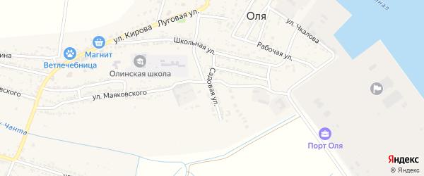 Садовая улица на карте села Оли Астраханской области с номерами домов