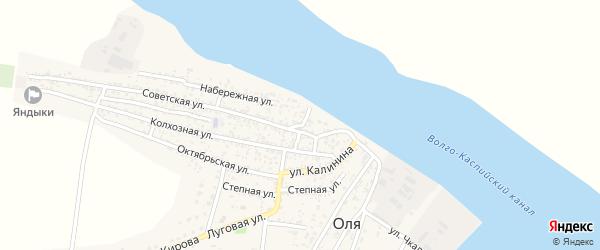 1 Мая улица на карте села Оли Астраханской области с номерами домов