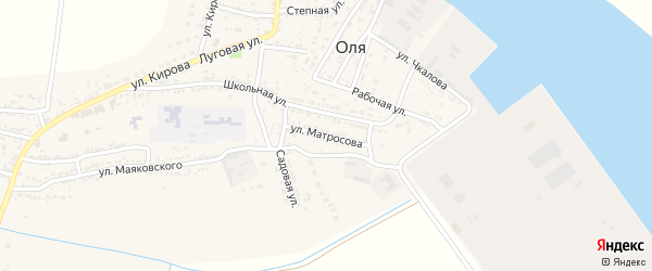 Улица Матросова на карте села Оли Астраханской области с номерами домов