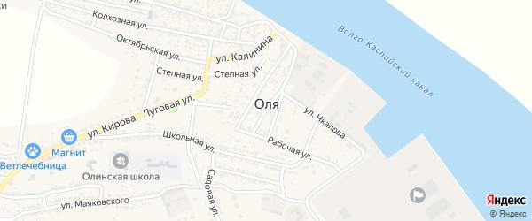 Кольцевая улица на карте села Оли Астраханской области с номерами домов