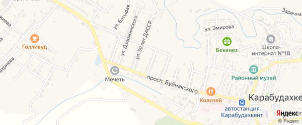 Улица Рокоссовского на карте села Карабудахкента Дагестана с номерами домов