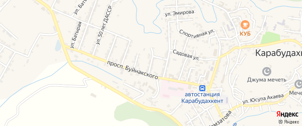 Улица Родовского на карте села Карабудахкента Дагестана с номерами домов