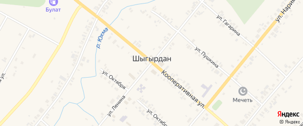 Улица Минхайдер Валитова на карте села Шыгырдана Чувашии с номерами домов