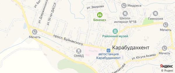 Улица Космодемьянской на карте села Карабудахкента Дагестана с номерами домов