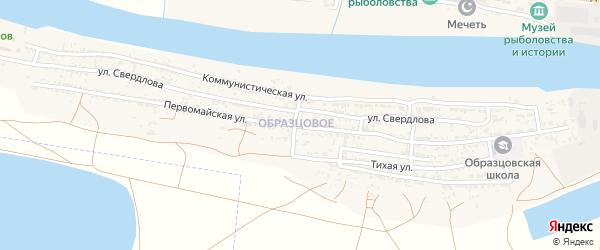 Первомайская улица на карте села Оранжереи Астраханской области с номерами домов