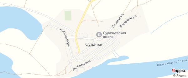 Полевая улица на карте села Судачьего Астраханской области с номерами домов
