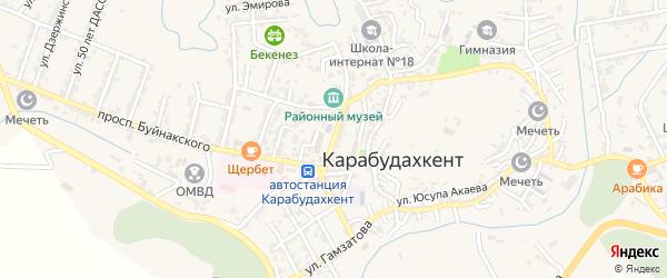 Улица Дахадаева на карте села Карабудахкента Дагестана с номерами домов
