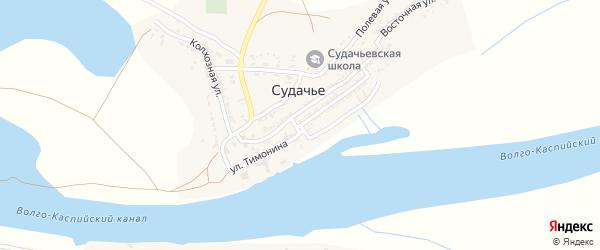 Улица Тимонина на карте села Судачьего Астраханской области с номерами домов