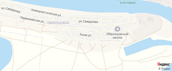 Тихая улица на карте села Оранжереи Астраханской области с номерами домов