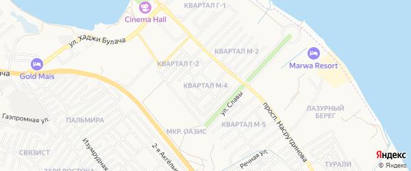 Карта микрорайона М-4 города Махачкалы в Дагестане с улицами и номерами домов
