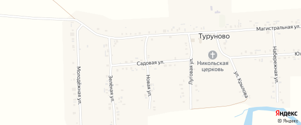 Садовая улица на карте села Туруново с номерами домов