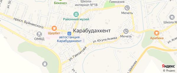 Улица Дауда Карабудахкентского на карте села Карабудахкента Дагестана с номерами домов