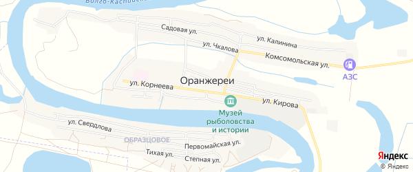 Карта села Оранжереи в Астраханской области с улицами и номерами домов