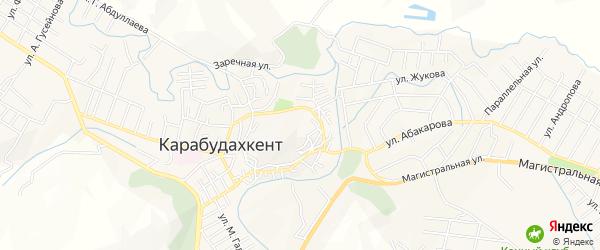 Карта села Карабудахкента в Дагестане с улицами и номерами домов