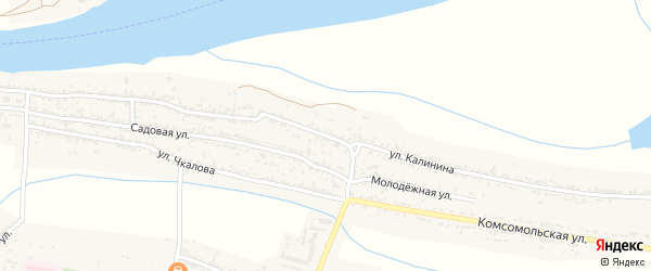 Улица Калинина на карте села Оранжереи Астраханской области с номерами домов