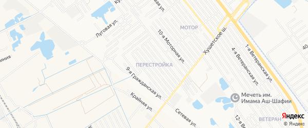 Квартал Перестройка на карте Махачкалы с номерами домов