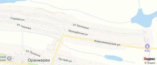 Молодежная улица на карте села Оранжереи Астраханской области с номерами домов