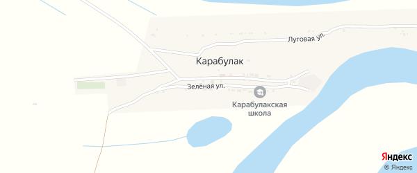 Зеленая улица на карте поселка Карабулака Астраханской области с номерами домов