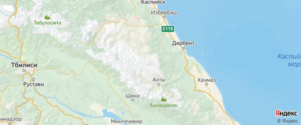 Карта Агульского района Республики Дагестана с городами и населенными пунктами