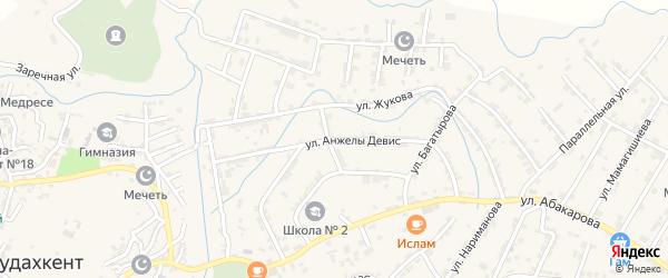 Улица А.Девис на карте села Карабудахкента Дагестана с номерами домов