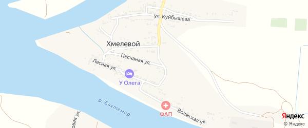 Песчаная улица на карте Хмелевого поселка Астраханской области с номерами домов