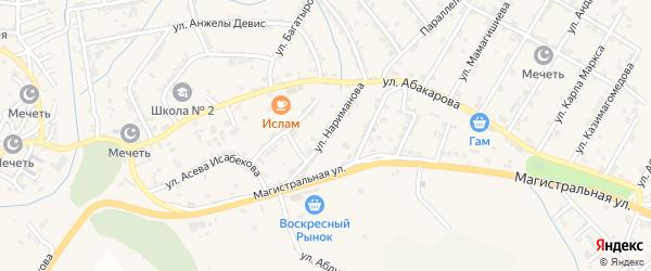 Улица Нариманова на карте села Карабудахкента Дагестана с номерами домов